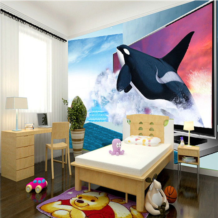 Custom photo wallpaper Orca 3D seascape cartoon children room living room bedroom sofa TV background wall mural wallpaper custom 3d photo wallpaper murals hd cartoon mushroom room children s bedroom background wall decoration painting wall paper