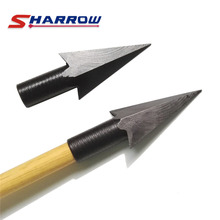 6 Pcs Black Traditional Arrowheads Archery Arrow Tip for 8mm Shaft Hunting Shooting