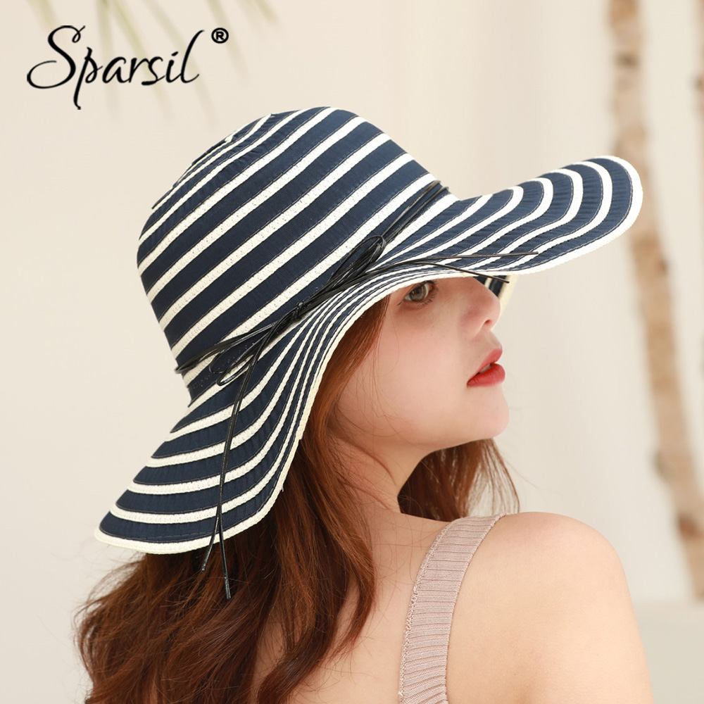 Sparsil Women Double-color Striped Bow Sun Hat Summer Leisure Cotton Sunscreen Breathable Cap Wide Brim Folding Beach Chapeau