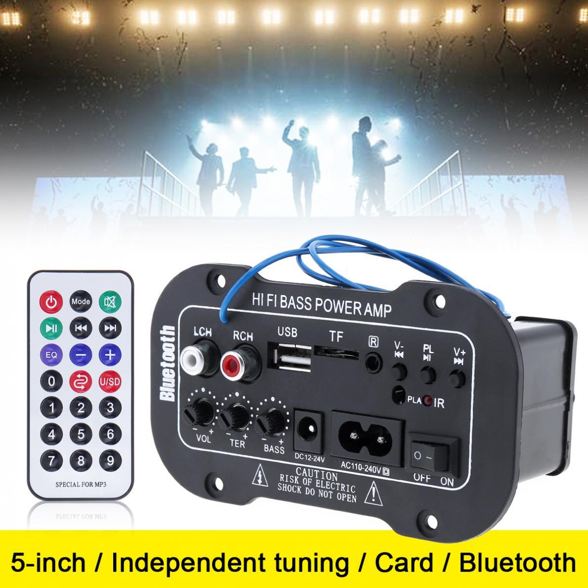 AMPLIFICADOR DE POTENCIA DE Audio HI-FI con Bluetooth para coche, reproductor de Radio FM automático de 5 pulgadas, amplificador de potencia de graves HiFi, entrada compatible con SD, USB, DVD y MP3