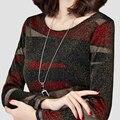 Otoño Invierno Dama De La Moda Camisetas Más El Tamaño M-5XL Cuello Alto Estilo de Rayas Impreso Tops Chándal Casual Tees