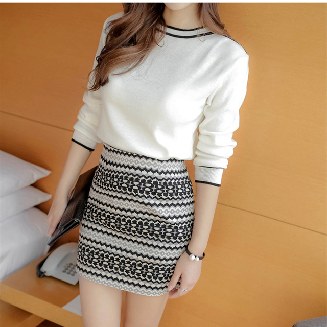 29a03df170729a Women Sets 2018 Spring knitting Long Sleeve O Neck White Crop Tops Package  hip Print Short Skirts 2 piece set Ladies Tracksuit