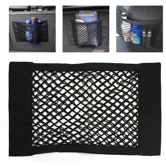 Car Seat Back Storage Elastic Mesh Net Bag Luggage Holder Pocket Sticker Trunk Organizer Strong MagicTape Car styling