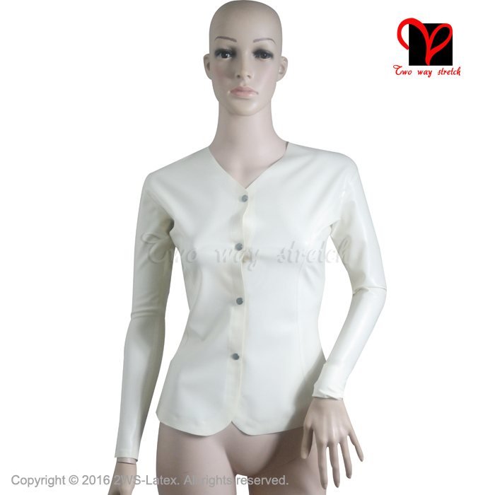 Sexy White Latex blouse long sleeves Rubber uniform shirt top Gummi clothes clothing women plus size match skirt XXXL SY-021