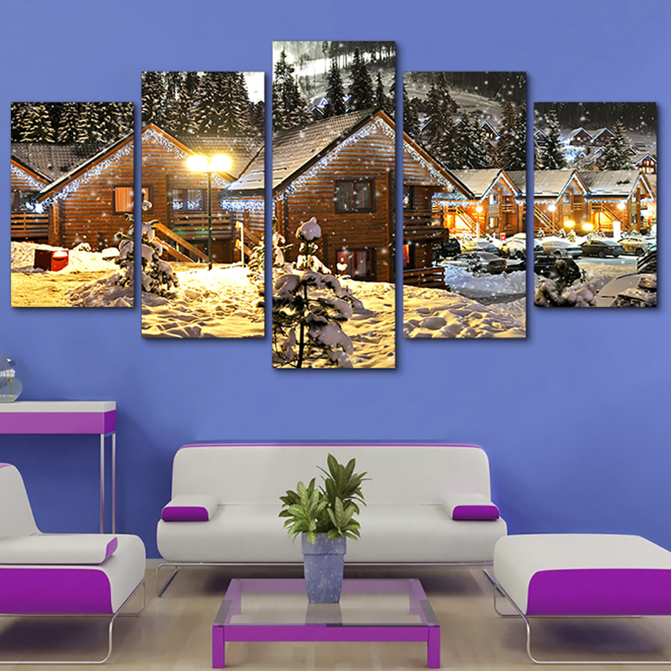 Decor Tableau Wall Art Pictures HD Printed Paintings 5 Panel Snow House Christmas Tree Night Modular Posters Home Modern Canvas