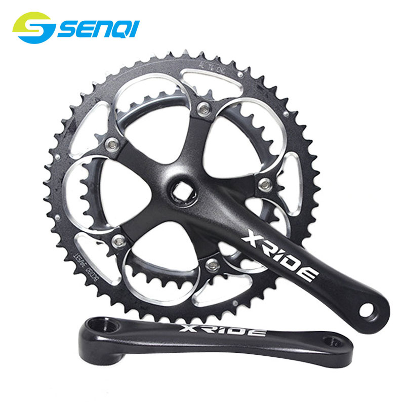 Aluminum Alloy 53T-39T CNC Folding Bike Road Bike Crankset Crank CNC Hollow Out Chainwheel Bicycle Accessories CZY003 rockbros titanium ti pedal spindle axle quick release for brompton folding bike bicycle bike parts