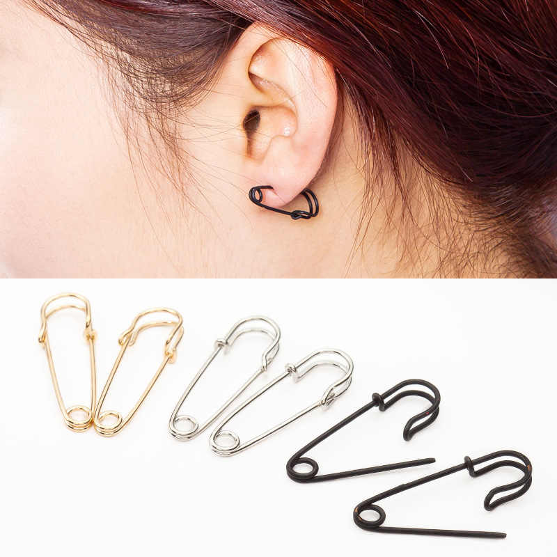 Safety Pin Earrings Gold Silver Black Plated Brooch Hoop Earing For Women Hollow Fashion Ear Jewelry Accessories Pendientes
