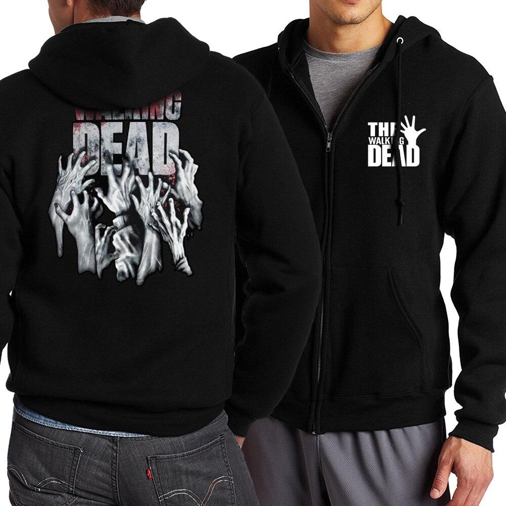 Walking Dead Hip Hop Punk Streetwear Man Hooded Black Streetwear Outwear High Quality Zipper Sweatshirt Harajuku Coat Outerwear