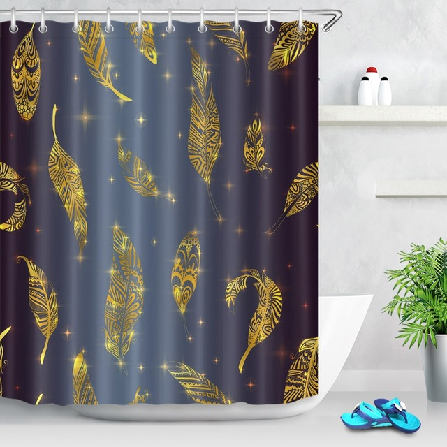 LB 72 Waterproof Polyester Dark Blue And Gold Leaf Print Shower Curtains Set Bathroom