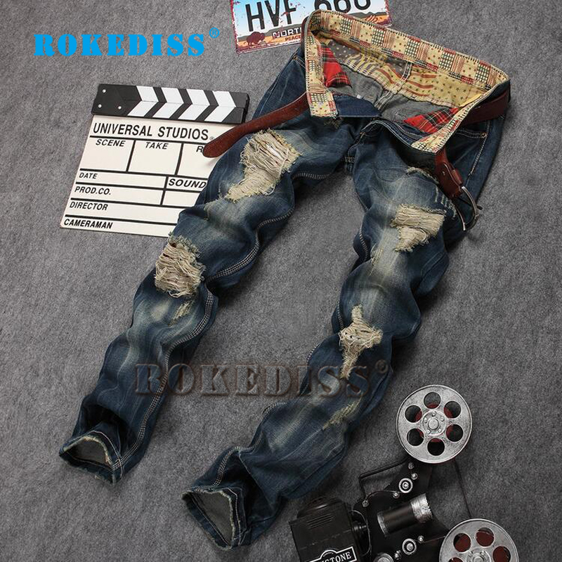 Mens denim Alternative Frayed The New Elasticity Nightclub Fake designer clothes ripped jeans for men skinny B119