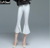 Female Elegant OL Office Work Flare Pants Women Pure White Color Slim Calf Length Pants Trousers