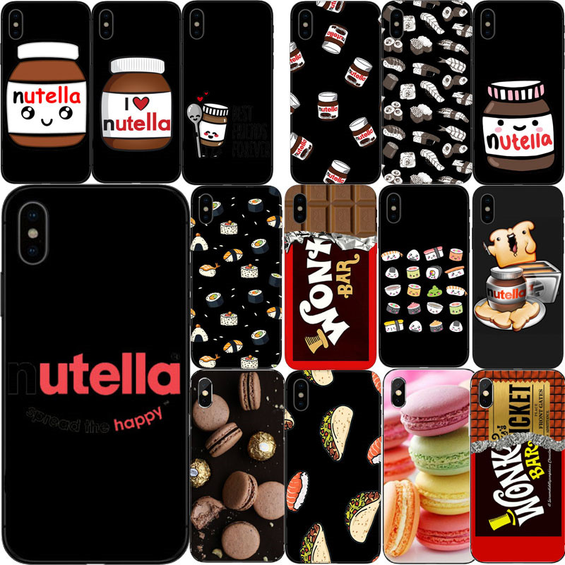 Tumblr Makalon Nutella Chocolate Sushi Comida Soft Silicone Tpu Caso Capa Para O Iphone 6 7 8 Plus 5 4 X Xr Xmax Capinha Coque