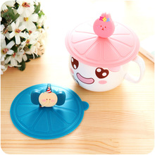 A463 creative cartoon green food grade silicone cover cute dustproof multifunctional cup lid leak proof cup cover
