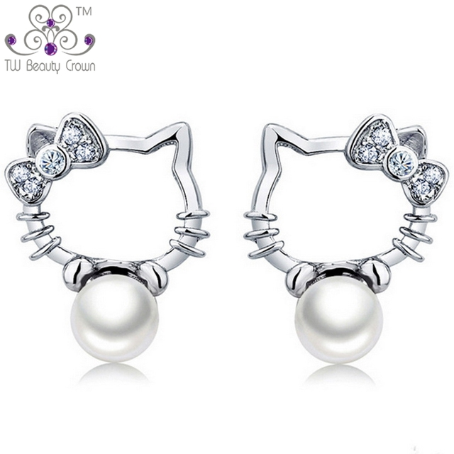 b5f15d869 Real 925 Sterling Silver Cute White Freshwater Pearls Hello Kitty Stud  Earrings For Young Women Girls Fashion Children Jewelry