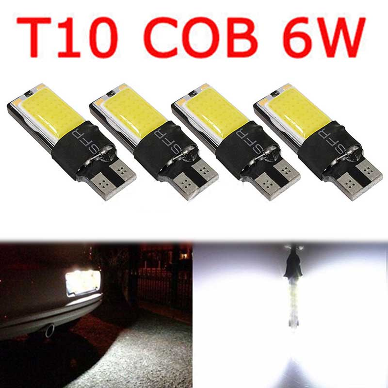 Mayitr 4pcs T10 COB 6W W5W 194 168 LED Canbus Error Free High Power Side Wedge Bulb 12V Cool White For Most of Cars 4x canbus error free t10 194 168 w5w 5050 led 6 smd white side wedge light bulb