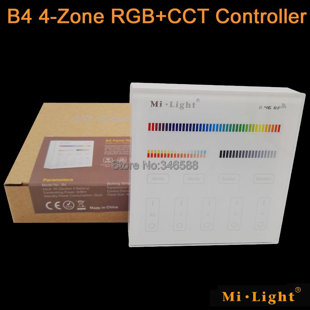 Mi.Light B4 4-Zone RGB+CCT Smart Touch Panel Remote Controller Powerd by 3V (2*AAA Battery) Wall Mount 2.4G Wireless as <font><b>FUT092</b></font> image