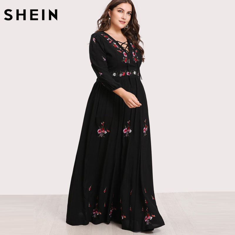 e6b6b36ab9 SHEIN Black Dresses Large Sizes Sexy Lace Up Front Flower Embroidered Maxi Dress  Plus Size Spring Autumn Floral Dress