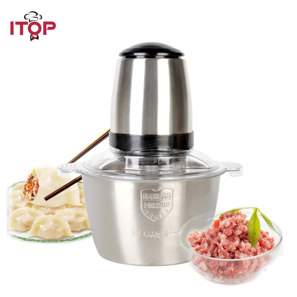 ITOP Stainless Steel Meat Grinder Chopper Electric Automatic Mincing Machine High-quality Household Grinder Food Processor itop electric meat grinder stainless steel mincer with sausage stuffing tubes household food grinding mincing machine 1200w