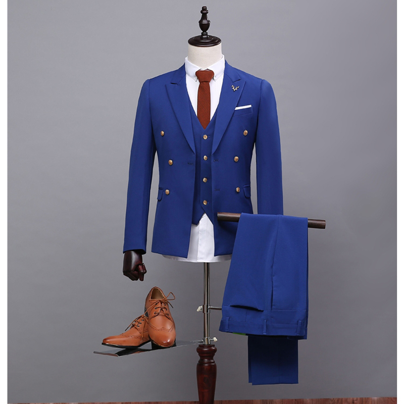 NA38 Formal Occasion Males Suits Slim Fit Groom Tuxedos Wedding Suits Mens 3 Pieces (Jacket+Pant+Waistcoat) Royal Blue Man Suits