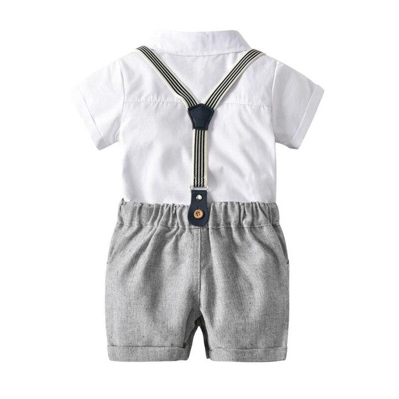 Комплект одежды для маленьких мальчиков летние для маленьких мальчиков Формальное джентльмен с бантом Футболка с коротким рукавом + шорты ...