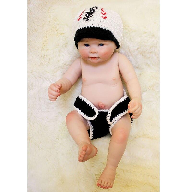 Hot Lovely 20'' Reborn Doll Baby Boy Cute Full Silicone Vinyl Babies Newborn Toddler Waterproof Bathe Dolls Playmate Kids Gifts