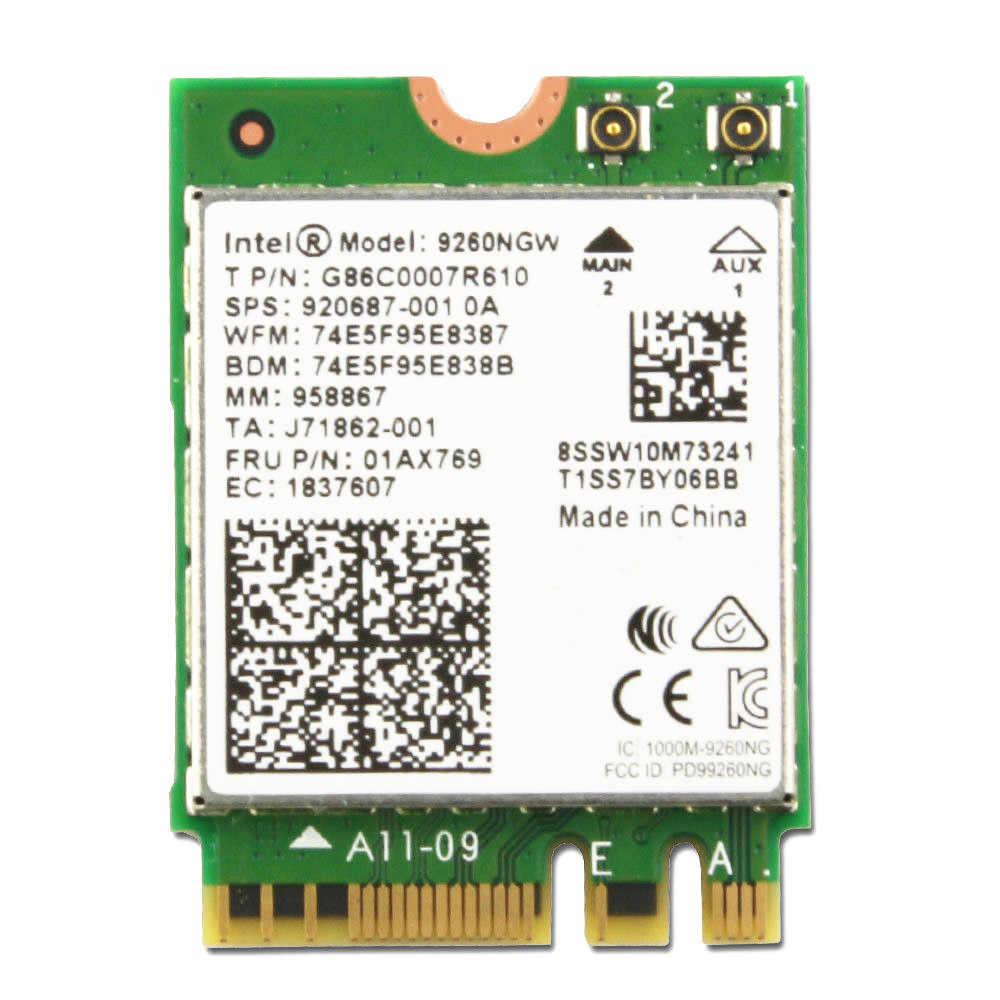 חדש להקה כפולה אלחוטי-AC 9260 Intel 9260NGW NGFF 1730 Mbps 1.73 Gbps WiFi + Bluetooth 5.0 802.11ac MU-MIMO כרטיס Windows 10