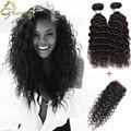 Water Wave Brazilian Hair With Closure 3 Bundles Wet n Wavy Virgin Brazilian Hair Hj Hair Mink Brazilian Curly Hair With Closure