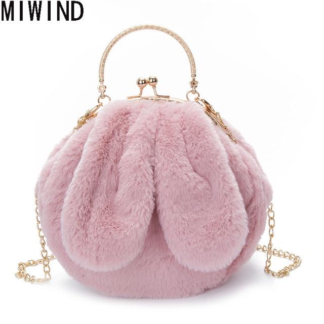 c32f0da031e5 MIWINDCute Faux Fur Handbags Luxury Designer Evening Bag Gril Christmas New  Lady Day Clutch Chain Women Messenger Bag TGS269