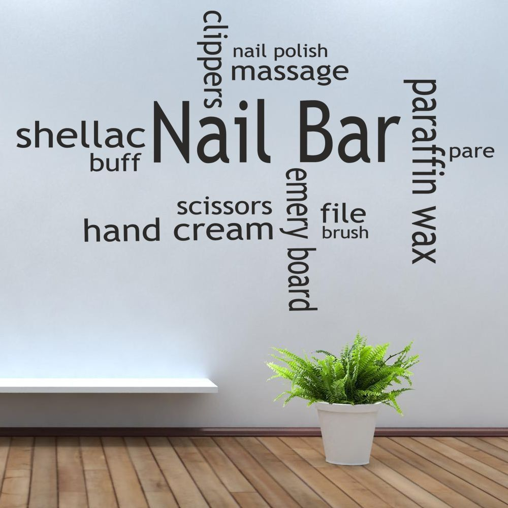 Fashion nail bar collage vinyl wall decal nail salon for Mural lettering