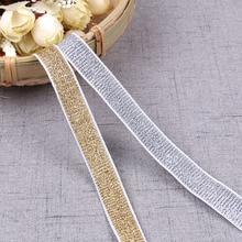 5 ярдов 15 мм толстые золотые серебряные эластичные ленты DIY Одежда Свадебные аксессуары ручной работы кружевная лента упаковка украшения