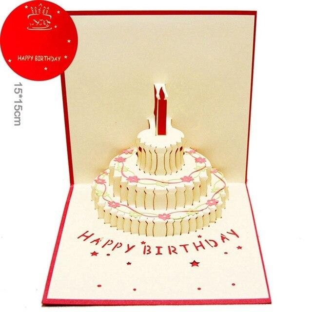1pcs Happy Birthday 3d Pop Up Greeting Card Postcard Matching