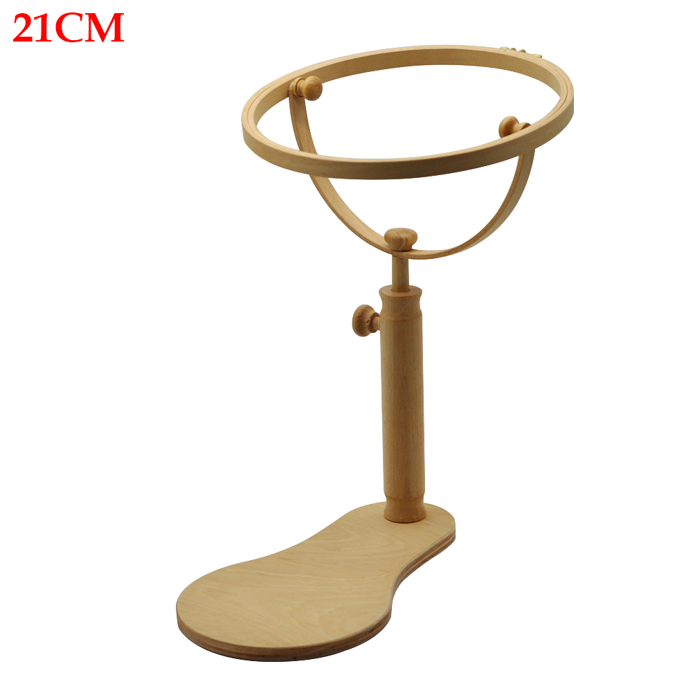 Cross Stitch DIY 360 Degree Rotation Desktop Stand Sewing Tool Circles Accessories Wood Rack Craft Embroidery Hoop Frame Durable