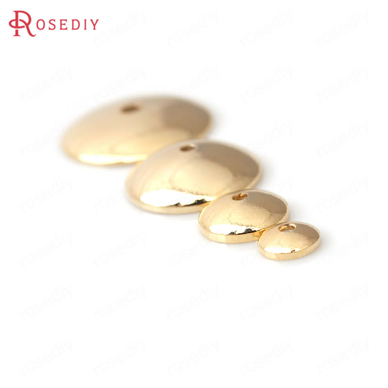 20PCS 4MM 6MM 8MM 10MM 12MM 24K Champagne Gold Color Plated Brass Glossy Beads Caps High Quality Diy Jewelry Accessories