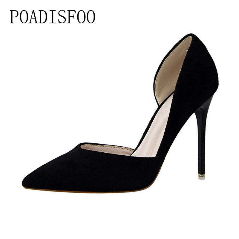 POADISFOO 2018 pumps Fashion Simple Delicate Thin With High Heel Suede Shallow Pointed Side Hollow women's Shoes .PSDS-3168-6 new fashion delicate sweet bowknot high heel shoes side hollow pointed women pumps