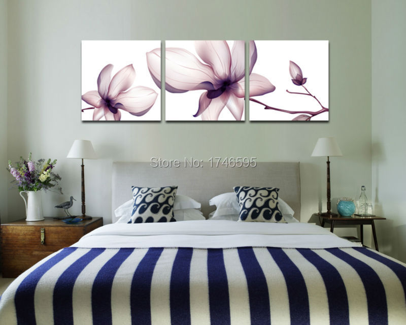 Big size 3pcs modern home wall decor orchid flower Wall Art picture print  Painting for living