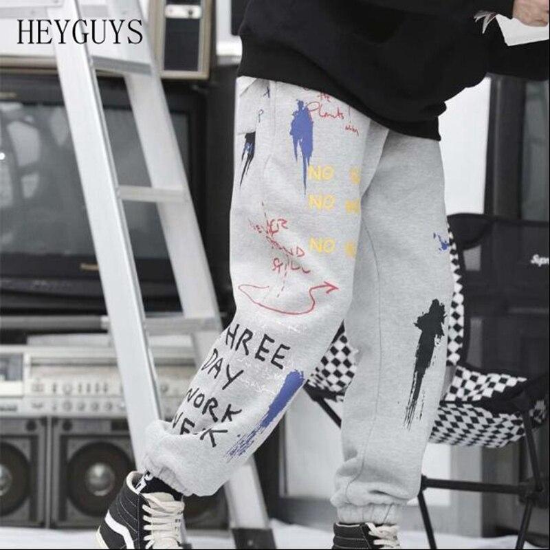 HEYGUYS Jogger Trousers Sweat-Pants Harem Graffiti Streetwear Male Fashion Hip-Hop Causal