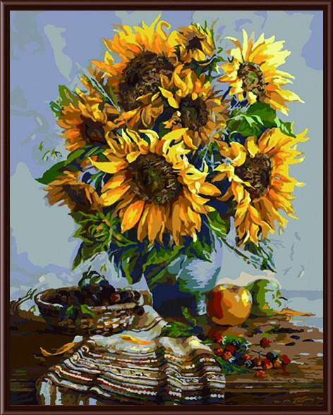Frameless Diy Oil Painting Sunflower Vase Coloured Drawing