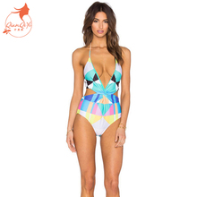 2017 Summer styles neon color padded halter bandage conjoined push up sexy One Piece swimwear swimsuit women bathing suit
