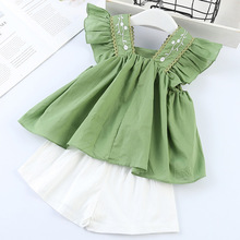 Girls Suits 2019 Summer Style Kids Beautiful Floral Flower Sleeve Children V-neck Clothing White Shorts Suit 2Pcs Clothes 2-6Y