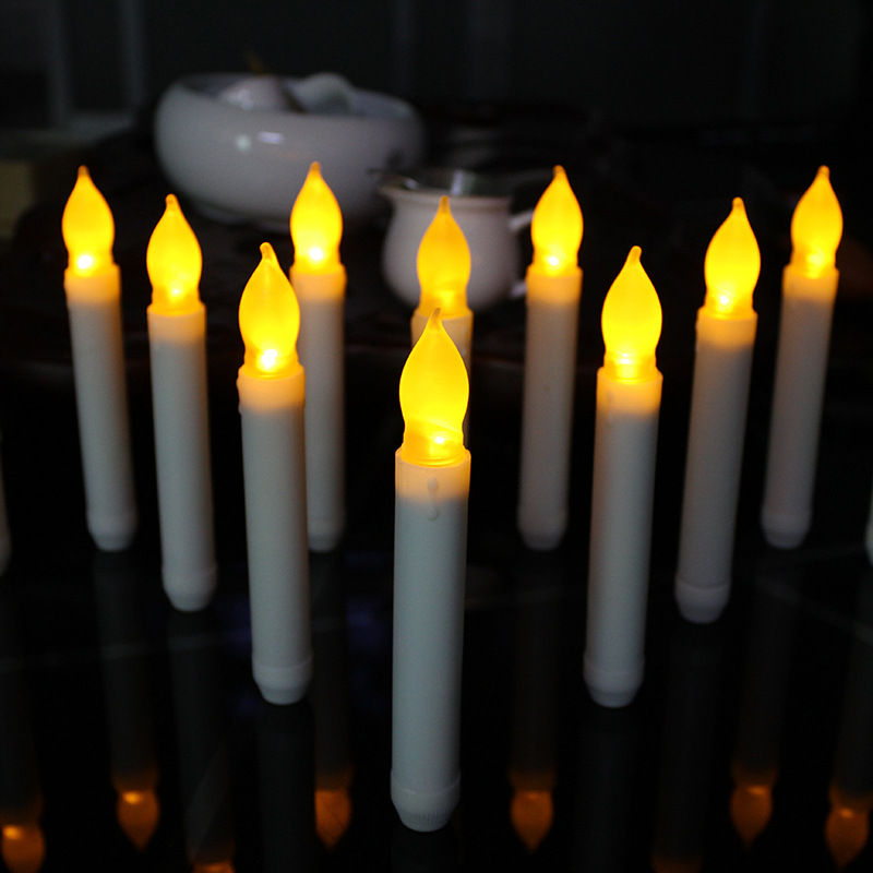 12pcs/lot Flameless Taper Candle Wholesale Thin Battery Operated Taper Candle Decorative Pillar Electric Taper Candle For Dinner