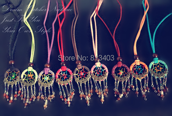How To Make Dream Catcher Necklace New Indian Dream Catcher Necklace With Small Bell and Crystal 32