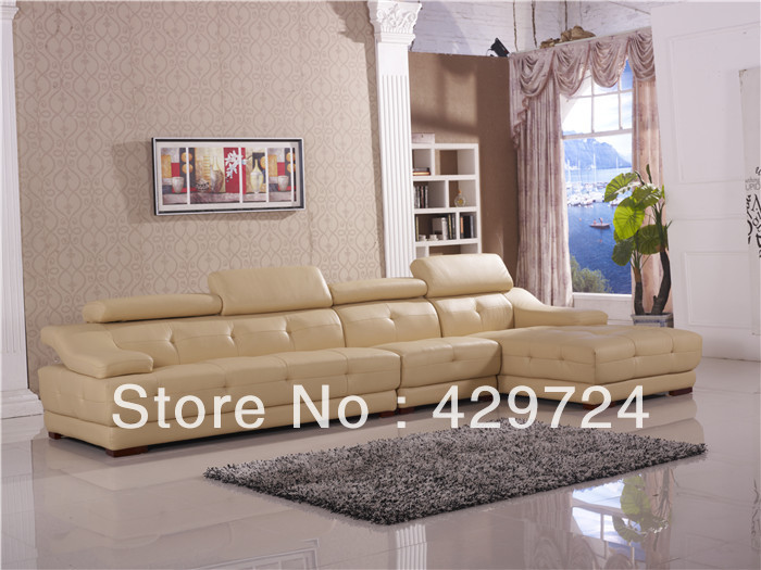US $1999.0 |Free Shipping European & American Design, Stretched headrest,  Top Grain Leather Sofa, Classic Corner sofa with sofa lounge-in Living Room  ...