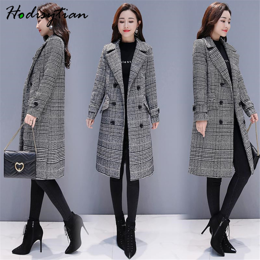 Hodisytian Winter Women Wool Blends Plaid Trench Coat Elegant Outerwear Casual Loose Thick Cardigan Female Cashmere