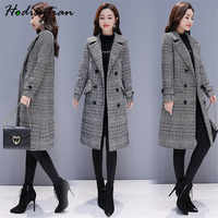 Hodisytian Winter Women Wool Blends Plaid Trench Coat Elegant Outerwear Casual Loose Thick Cardigan Female Cashmere Overcoat