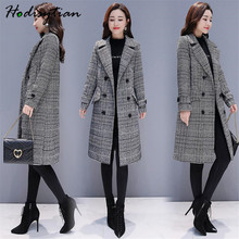 Hodisytian Winter Women Wool Blends Plaid Trench Coat Elegan