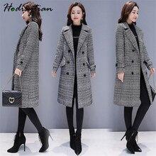 Hodisytian gabardina a cuadros de mezcla de lana para mujer, abrigo elegante, cárdigan grueso holgado informal, abrigo de Cachemira para mujer 3XL