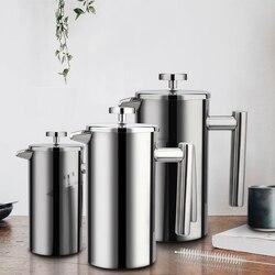 Френч-пресс для приготовления кофе из нержавеющей стали кофейник, двойная стенка и большая емкость ручной кофейник кофейные контейнеры