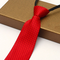 Lazy tie 8cm for Groom Suits men business casual easy to pull zipper tie red & black tie for young man Adjustable length