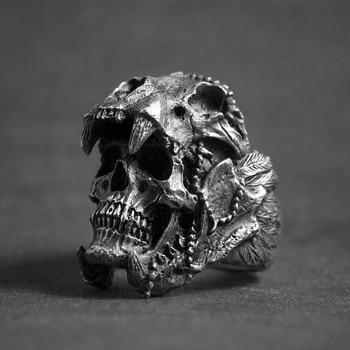 Cool Mens Boys 316L Stainless Steel Biker Rings Vintage Indian Jaguar Warrior Skull Punk Jewelry Gift for Him 1