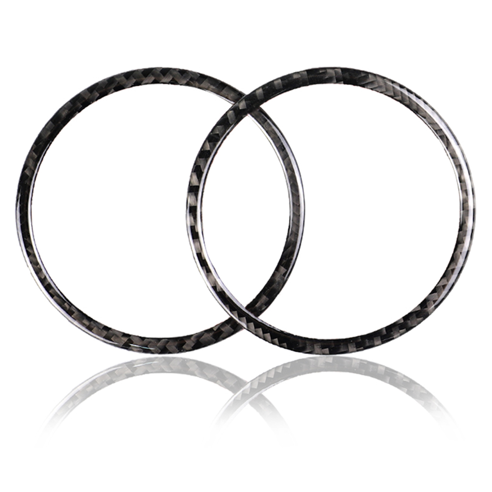 AUTO -2Pcs For Ford <font><b>Mustang</b></font> Carbon Fiber Car Door Audio Speaker Strip Cover Ring Sticker <font><b>2015</b></font> 2016 2017 Car Interior <font><b>Accessori</b></font> image